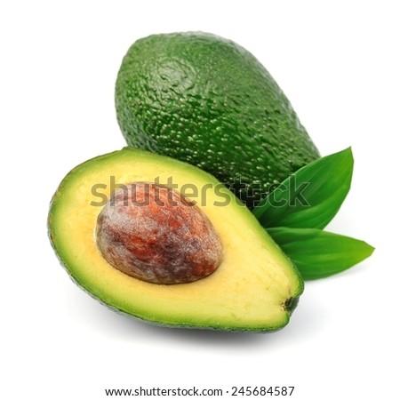 Ripe avocado close up on white - stock photo