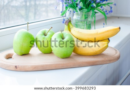 ripe bananas  and apples - stock photo