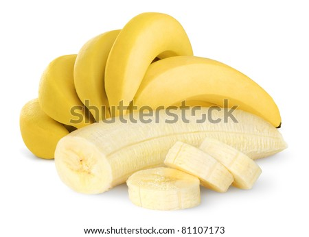 Ripe bananas isolated on white - stock photo