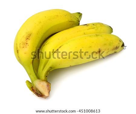 Ripe bananas on white - stock photo