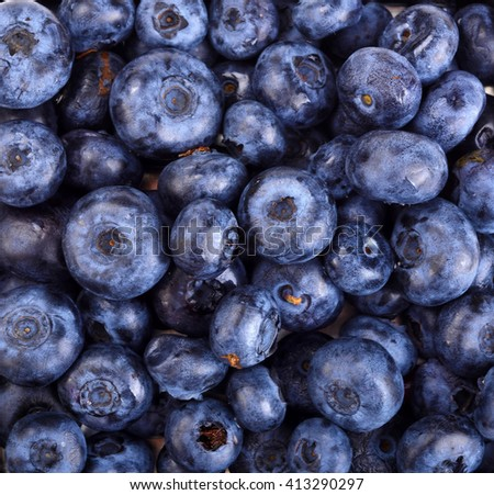 ripe blueberries in a container as a background - stock photo