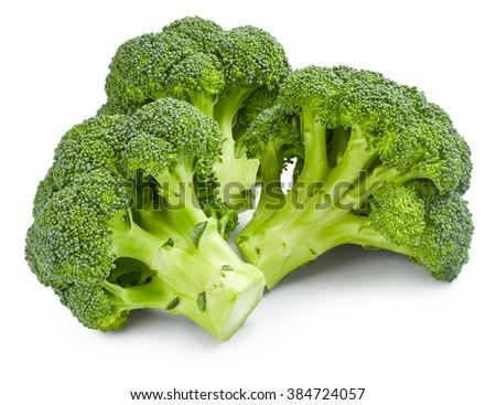 Ripe broccoli isolated on white background - stock photo