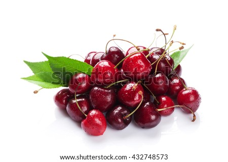 Ripe cherry berries. Isolated on white background - stock photo