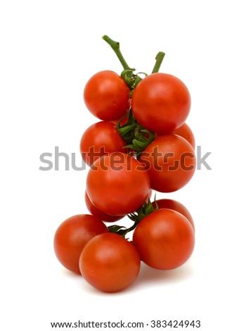 Ripe cherry tomatoes fruits isolated on white background - stock photo