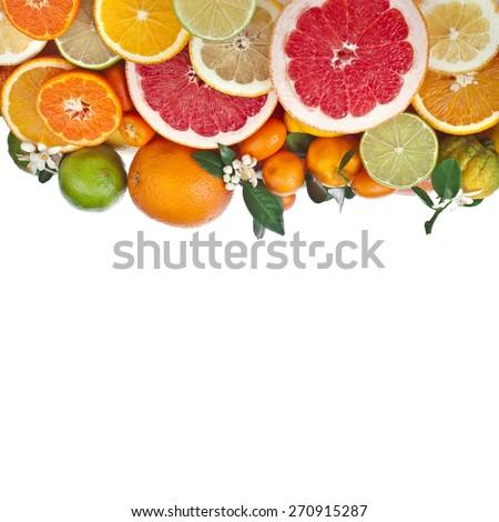 Ripe citrus fruits of lemon, orange, grapefruit, lime,  kumquat, isolated on white background - stock photo