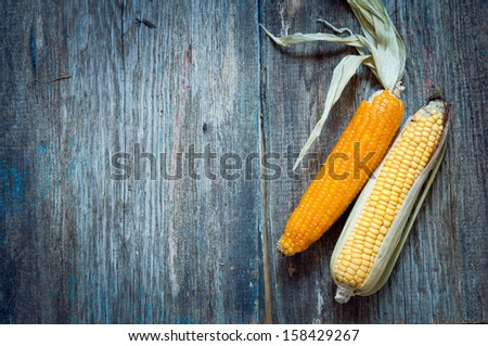 ripe corn on a wooden background - stock photo