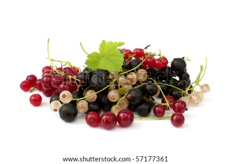 Ripe currants with green leafs isolated on white background - stock photo