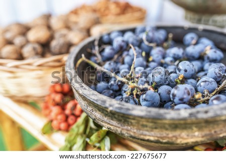Ripe dark blue sweet grapes in wooden bowl on background of mountain ash berries and walnuts. - stock photo