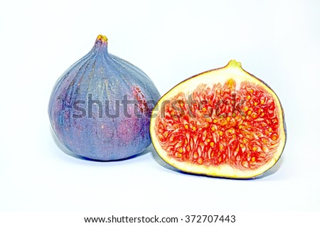 Ripe fig fruits isolated on white background - stock photo