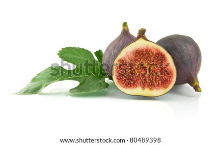ripe fig isolated on a white background - stock photo