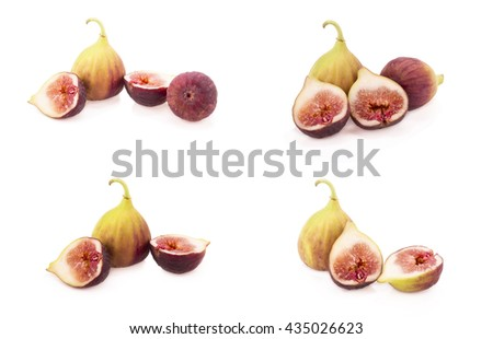 Ripe figs on a white background. - stock photo