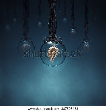 Ripe for the harvest / 3D render of human figures being cloned in glass pods - stock photo