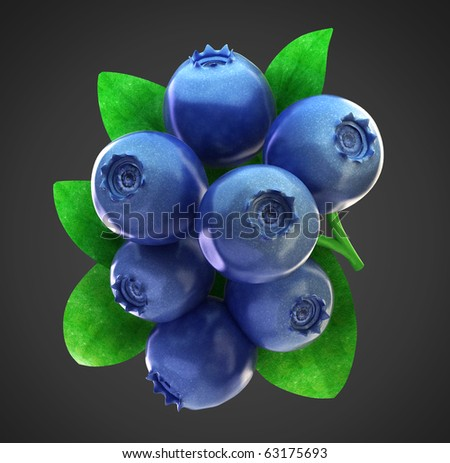 Ripe fresh blueberries and leaves with clipping path - stock photo