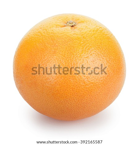 Ripe fresh Grapefruit on white background. Clipping Path - stock photo