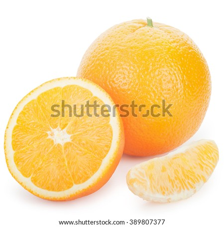 Ripe fresh orange, slice and half on a white background. Clipping Path - stock photo