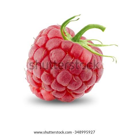 Ripe Fresh Raspberries On White Background - stock photo