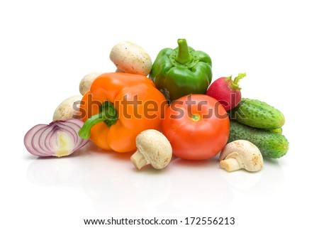 ripe fresh vegetables closeup on white background. horizontal photo. - stock photo