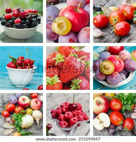 Ripe fruits and vegetables - stock photo