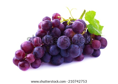 Ripe grapes isolated on white. - stock photo