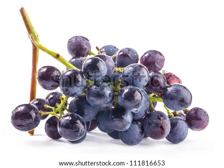Ripe grapes, Isolated on white background - stock photo