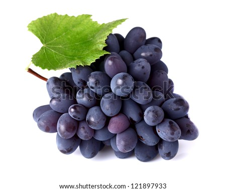 Ripe grapes with leaf - stock photo