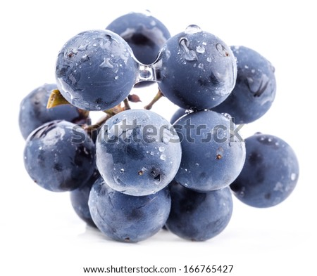 Ripe grapes with water drops. Isolated on white background, closeup - stock photo