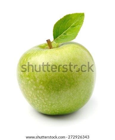 Ripe green apple fruit with leaves - stock photo