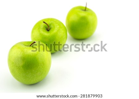 Ripe green apple isolated on white background - stock photo