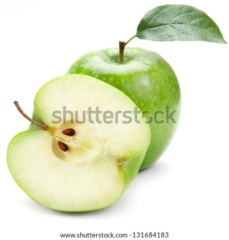 Ripe green apple with half isolated on white background - stock photo
