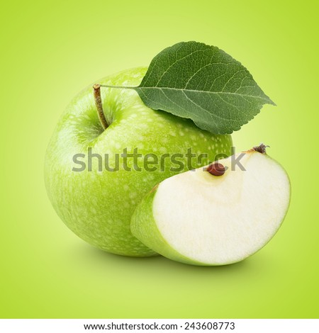Ripe green apple with leaf and slice with clipping path - stock photo