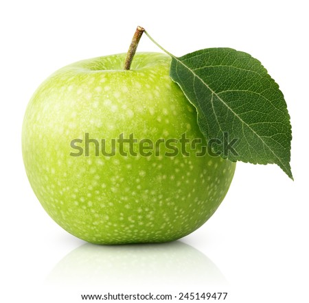Ripe green apple with leaf isolated on a white background with clipping path - stock photo