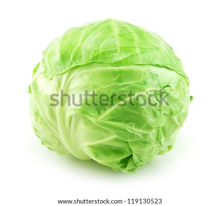 Ripe Green Cabbage Isolated on White Background - stock photo