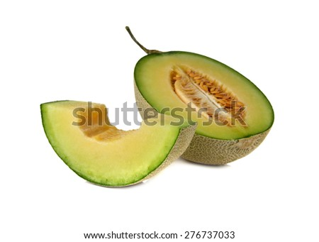 ripe green cantaloupe melon with stem on white background - stock photo