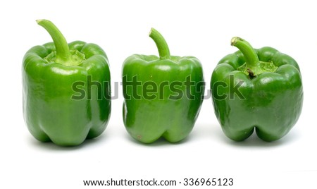 ripe green pepper on a white background - stock photo