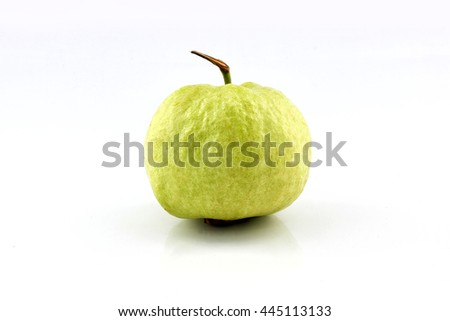 Ripe guava fruit from Thailand, isolated on white background. - stock photo