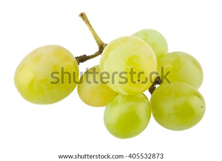 ripe juicy cluster of grapes isolated on a white background closeup - stock photo