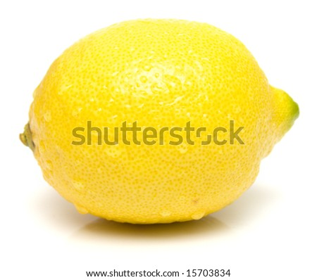 ripe juicy lemon with real reflexion on white. Isolation. - stock photo