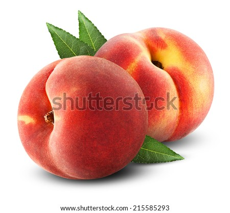 Ripe juicy peaches with leaves on a white background. Clipping Path - stock photo