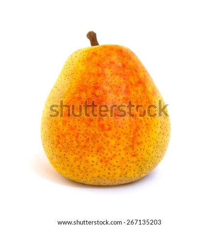 Ripe juicy pear on white background - stock photo