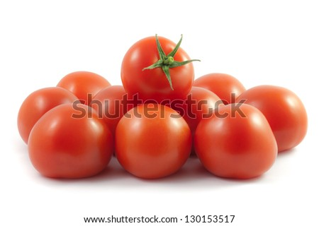 Ripe juicy tomatoes isolated on a white background. - stock photo