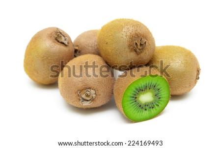 ripe kiwi closeup on white background. horizontal photo. - stock photo
