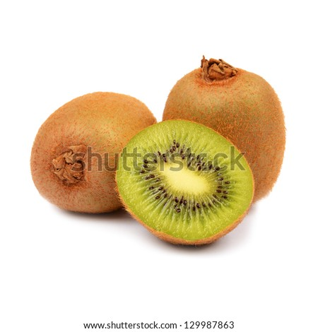 Ripe kiwi fruits with half - stock photo