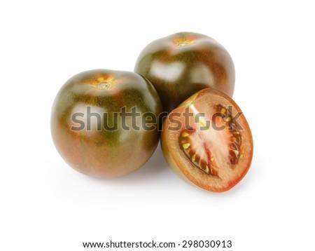 ripe kumato tomatoes isolated on white background - stock photo