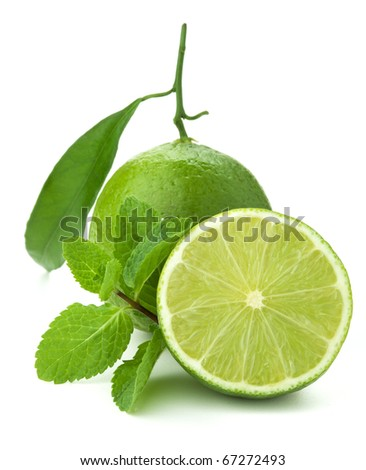 Ripe lime and mint. Isolated on white - stock photo