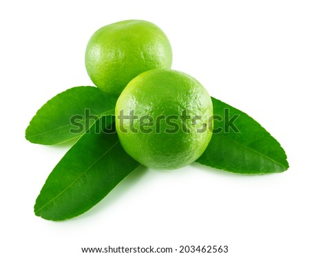 Ripe limes with leaves isolated on white background - stock photo