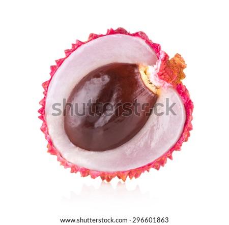 ripe lychee isolated on white background - stock photo