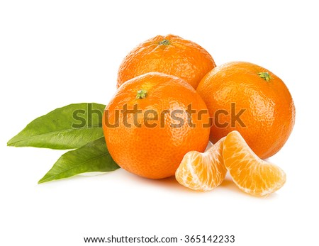 Ripe mandarines with leaves close-up on a white background. Tangerines with leaves on a white background. - stock photo