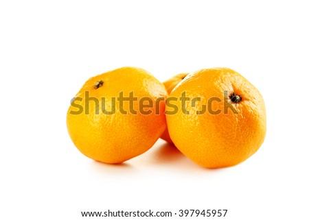 Ripe mandarins isolated on a white - stock photo