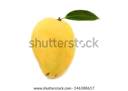 Ripe mango with green leaf - stock photo