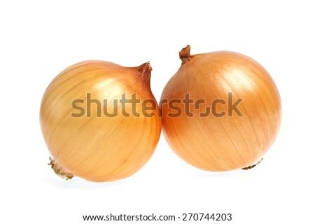Ripe onion on a white background - stock photo